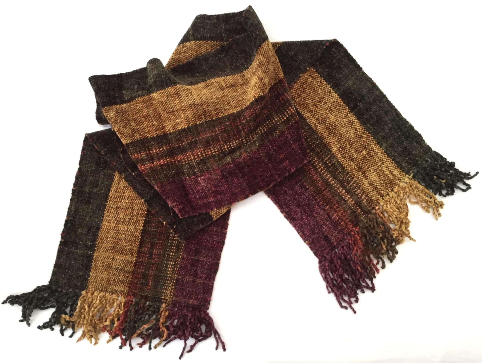 Wide Autumn Stripes - Bamboo Chenille Handwoven Scarf 8 x 68