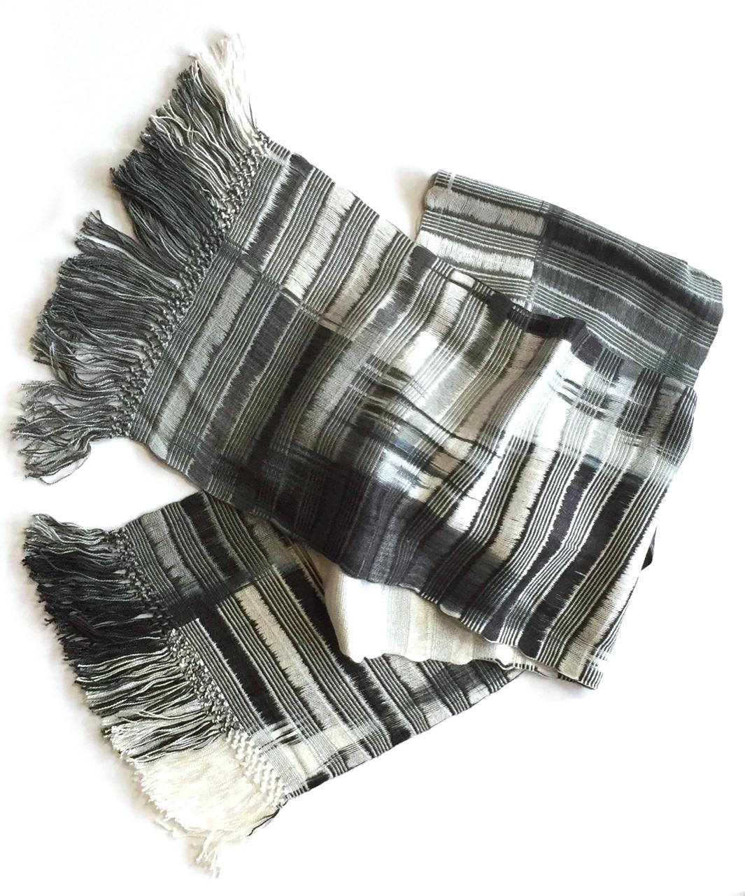 Black, White, Grays - Lightweight Bamboo Open-Weave Handwoven Scarf 8 x 68