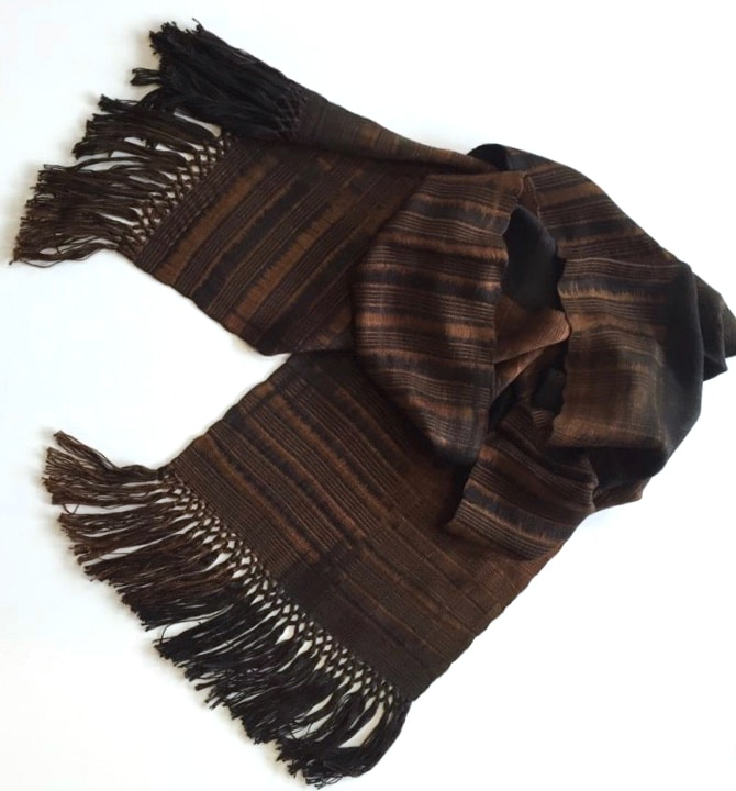 Browns and Black - Lightweight Bamboo Open-Weave Handwoven Scarf 8 x 68