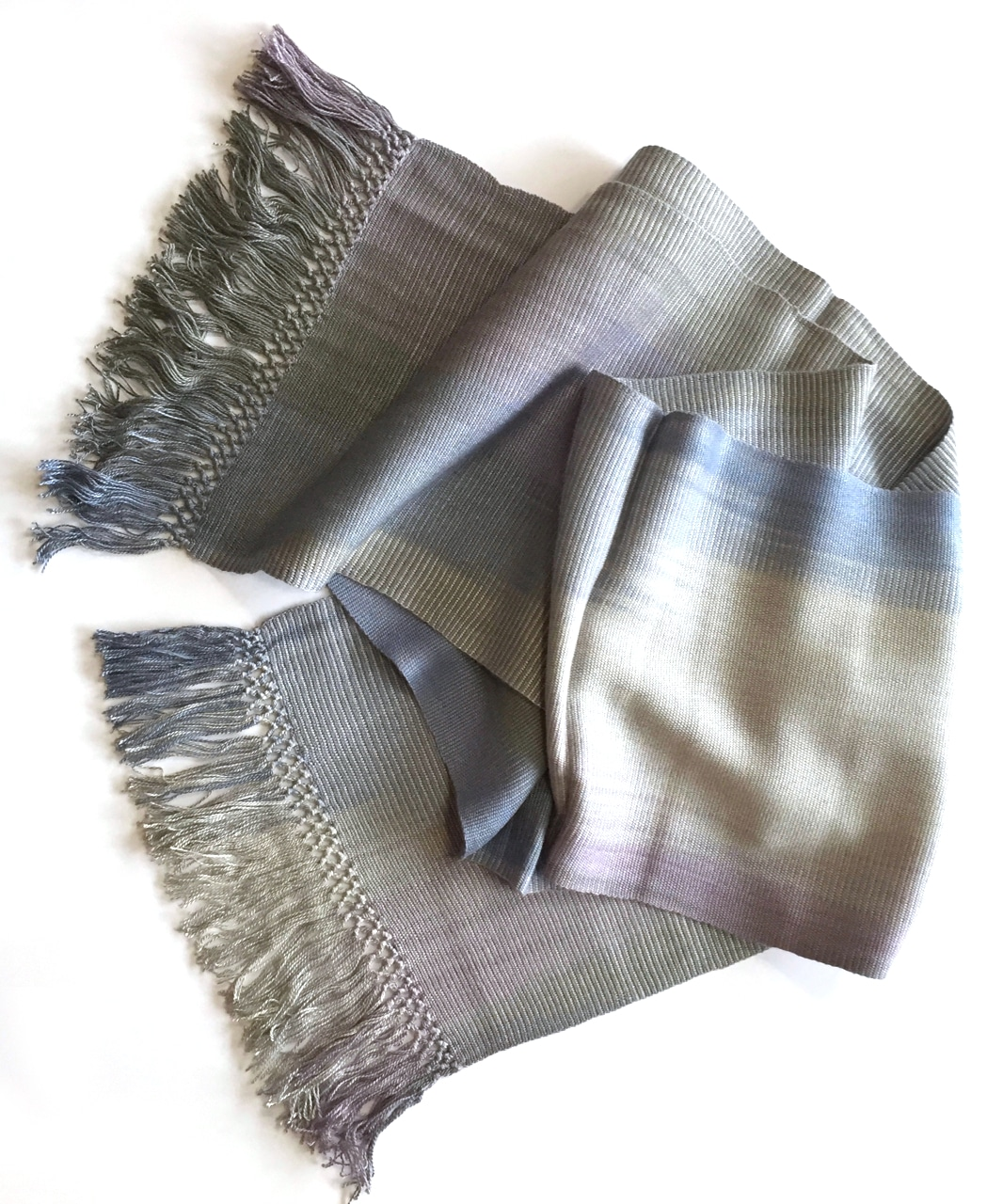 Lilac, Pale Blue, Gray - Lightweight Bamboo Handwoven Scarf 8 x 68