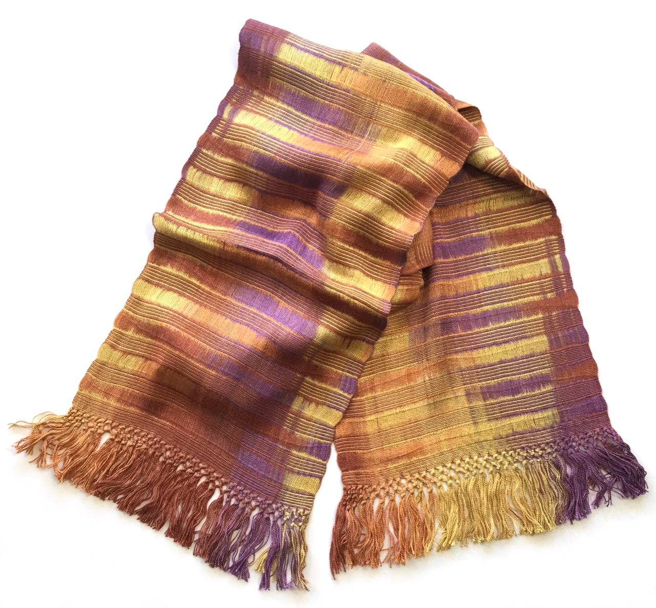 Gold, Orange, Coral, Purple - Lightweight Bamboo Open-Weave Handwoven Scarf 8 x 68
