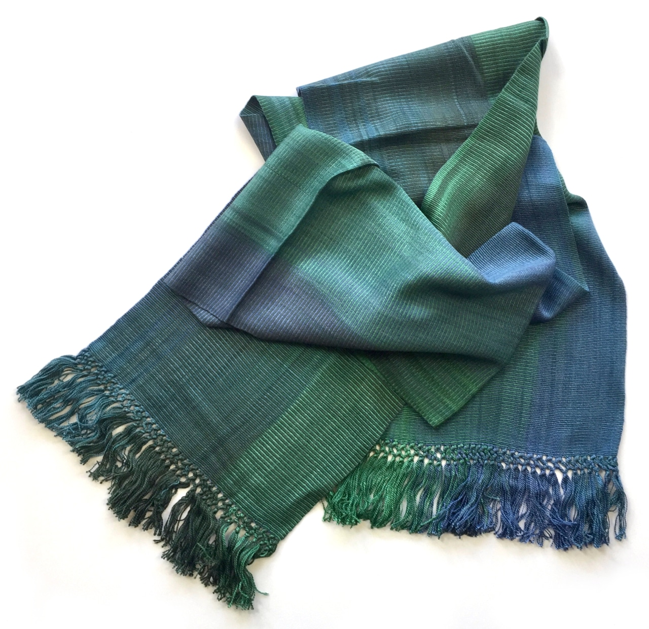 Emerald and Sapphire (Green and Blue) - Lightweight Bamboo Handwoven Scarf 8 x 68