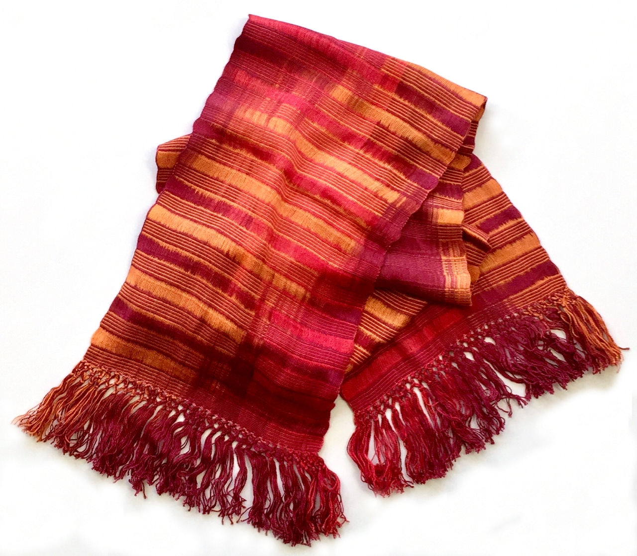 Red, Orange - Lightweight Bamboo Open-Weave Handwoven Scarf 8 x 68