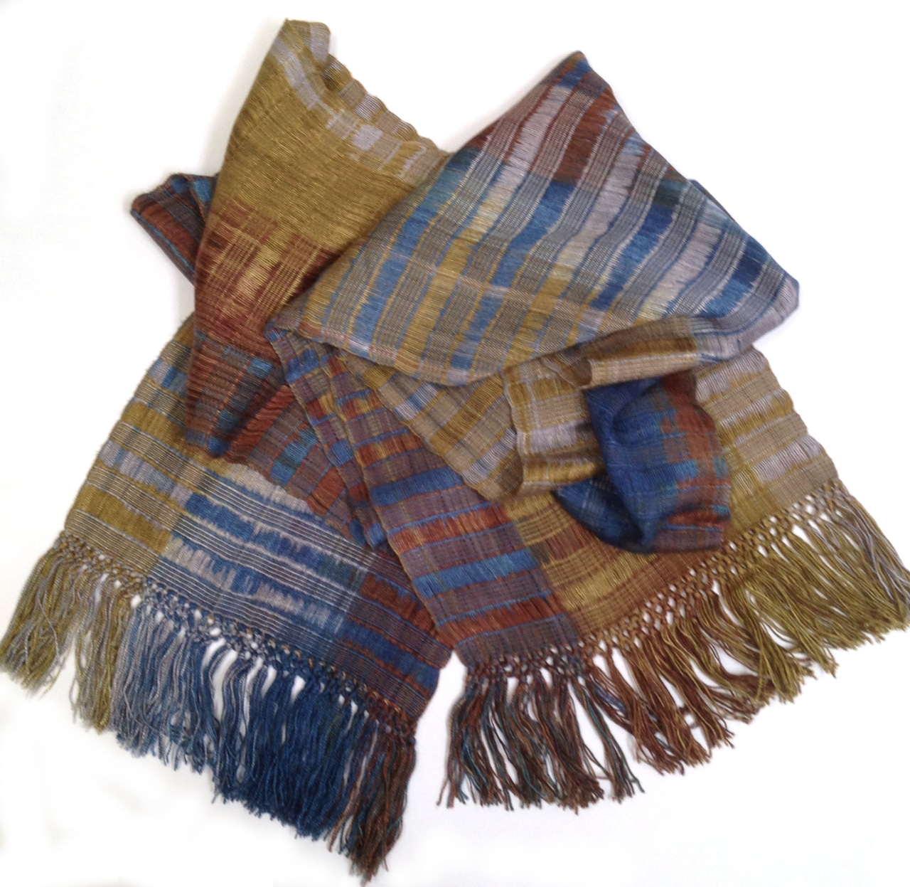 Blue, Olive, Gray, Brown - Lightweight Bamboo Open-Weave Handwoven Scarf 8 x 68