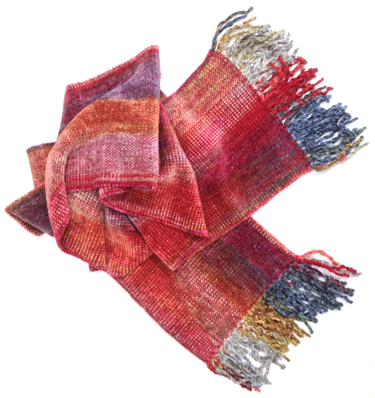 Red, Gray, Blue, Gold - Bamboo Chenille Handwoven Scarf 8 x 68