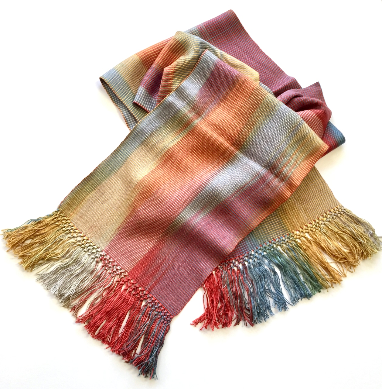 Red, Gray, Blue, Gold - Lightweight Bamboo Handwoven Scarf 8 x 68