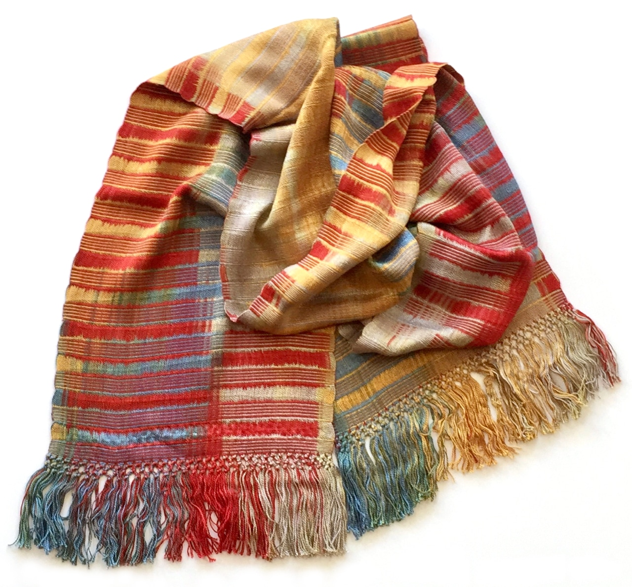 Red, Gray, Blue, Gold - Lightweight Bamboo Open-Weave Handwoven Scarf 8 x 68