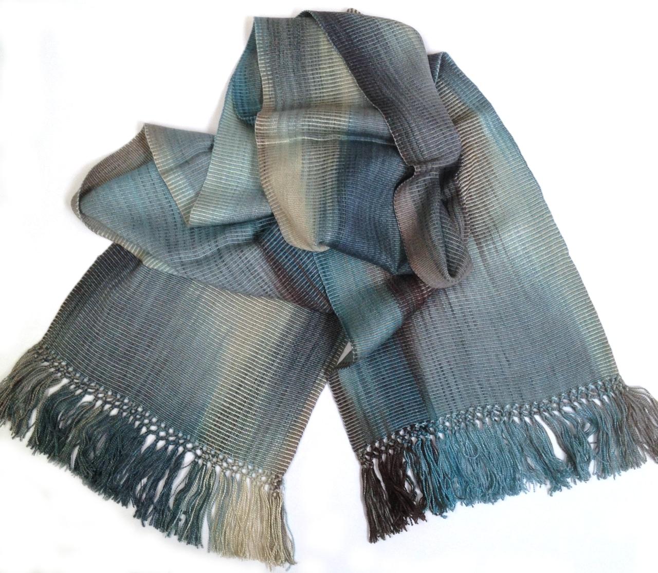 Denim (Blue, Black, Cream, Gray) - Lightweight Bamboo Handwoven Scarf 8 x 68