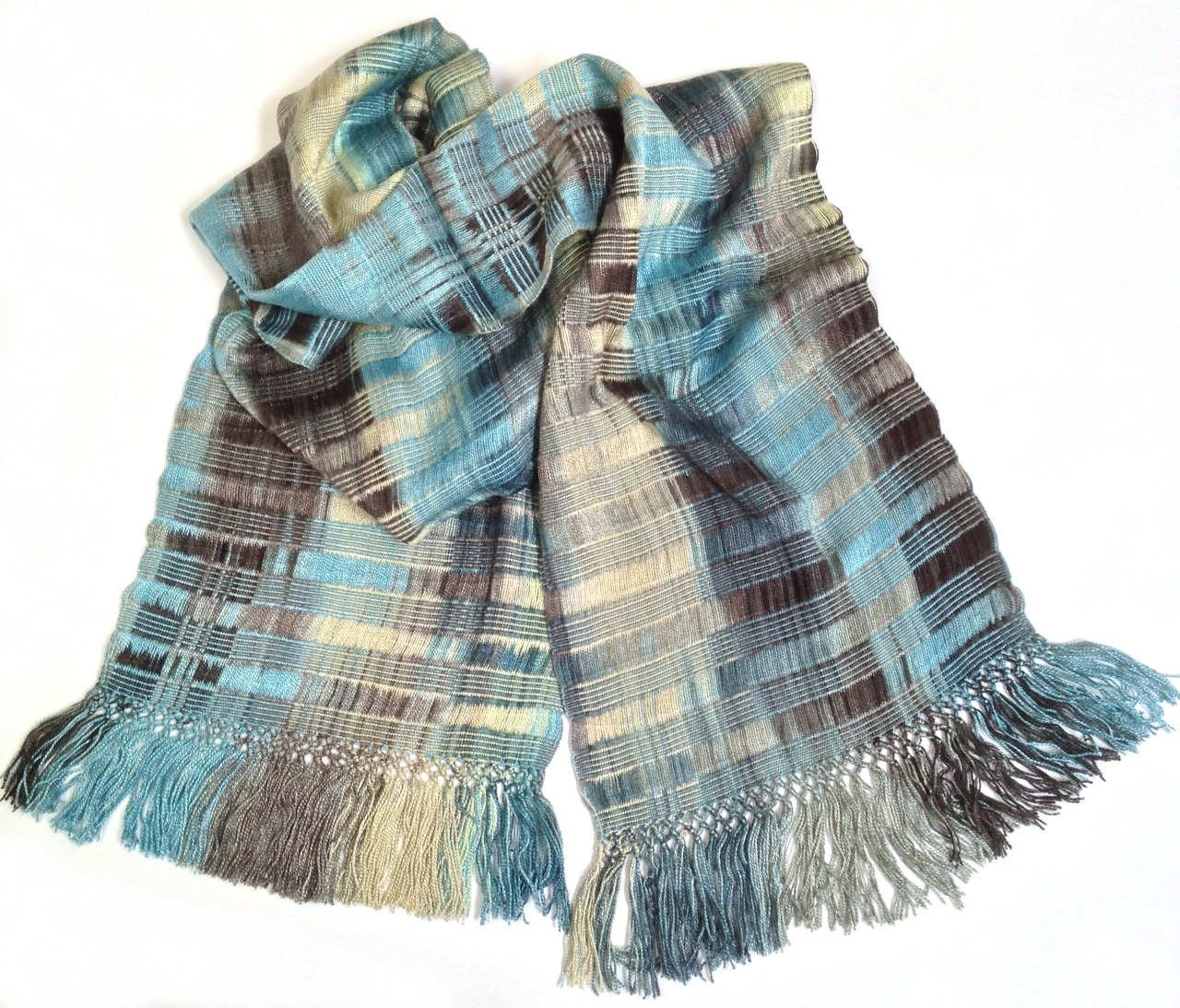 Denim (Blue, Black, Cream, Gray) - Lightweight Bamboo Open-Weave Handwoven Scarf 8 x 68