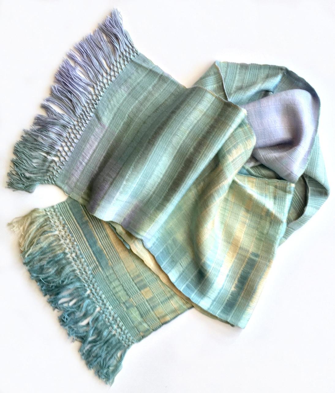 Pale Blue, Lilac, Jade, Beige - Lightweight Bamboo Open-Weave Handwoven Scarf 8 x 68