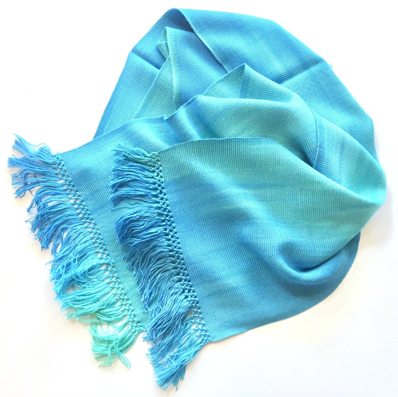 Turquoise, Celestial Blues - Lightweight Bamboo Handwoven Scarf 8 x 68