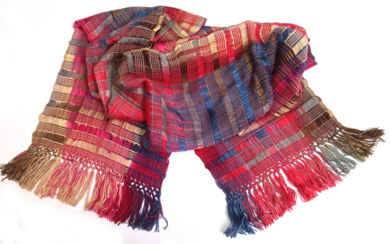 Red, Blue, Cream, Brown - Lightweight Bamboo Open-Weave Handwoven Scarf 8 x 68