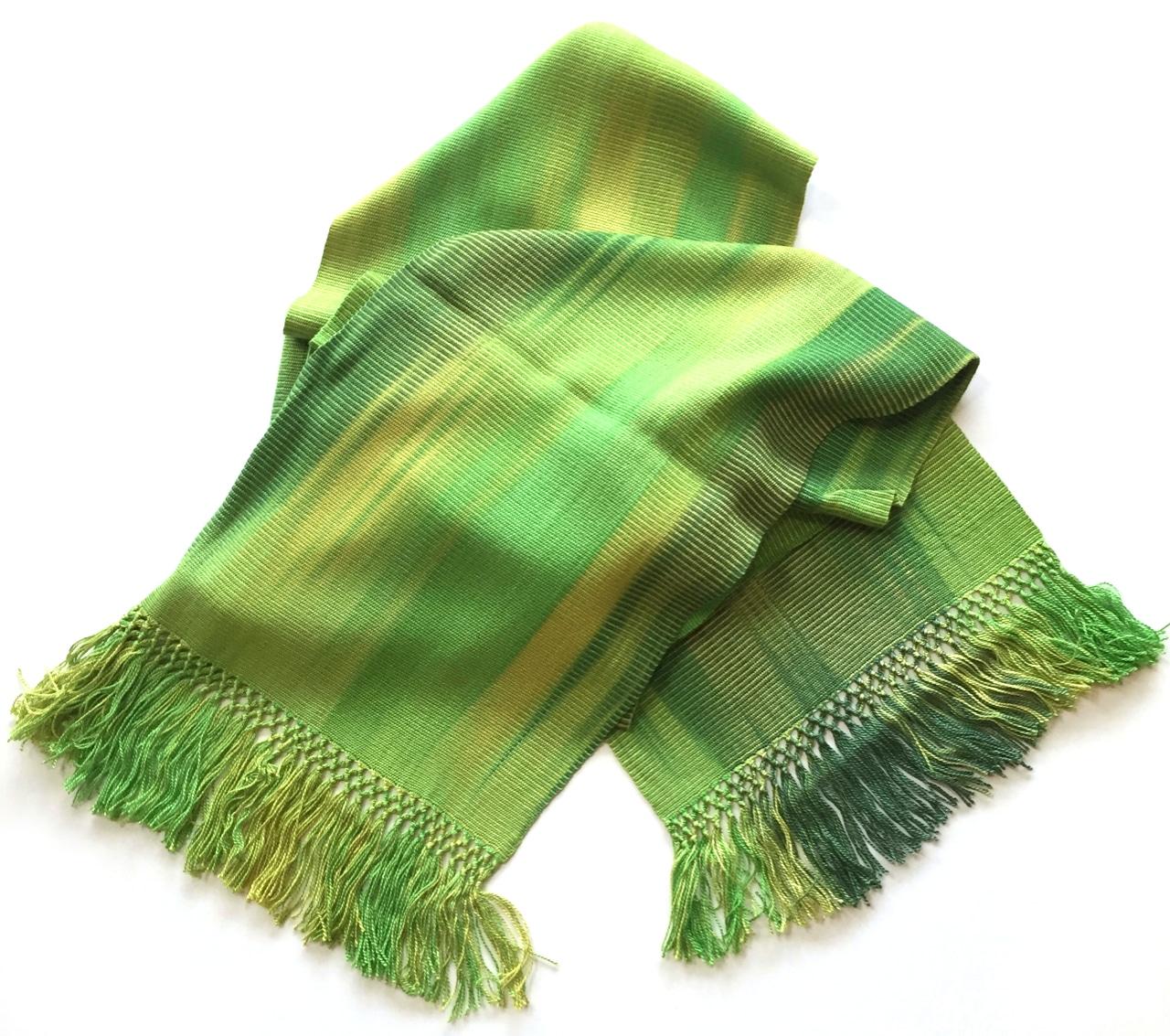 Lime Greens - Lightweight Bamboo Handwoven Scarf 8 x 68