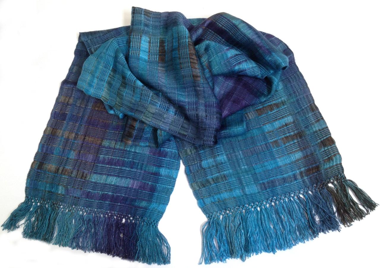 Blues, Dark Gray - Lightweight Bamboo Open-Weave Handwoven Scarf 8 x 68