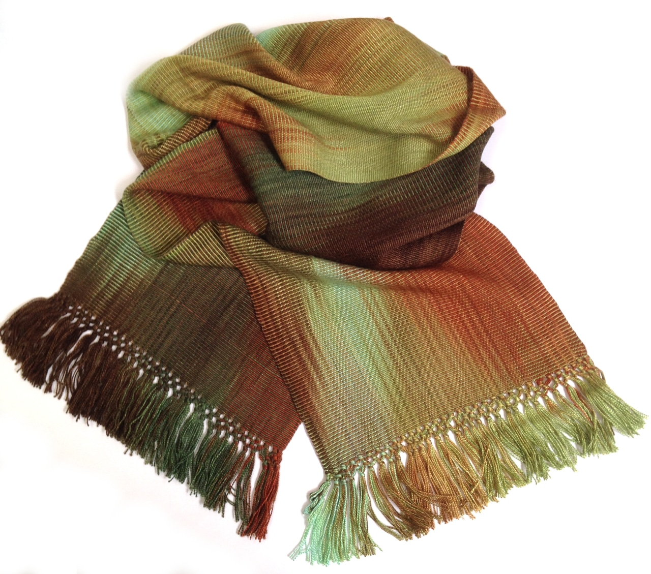 Turquoise, Brick, Green, Brown - Lightweight Bamboo Handwoven Scarf 8 x 68