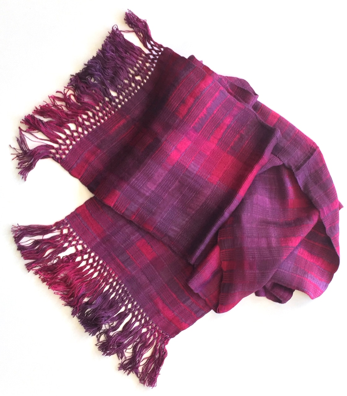 Magenta, Purple - Lightweight Bamboo Open-Weave Handwoven Scarf 8 x 68