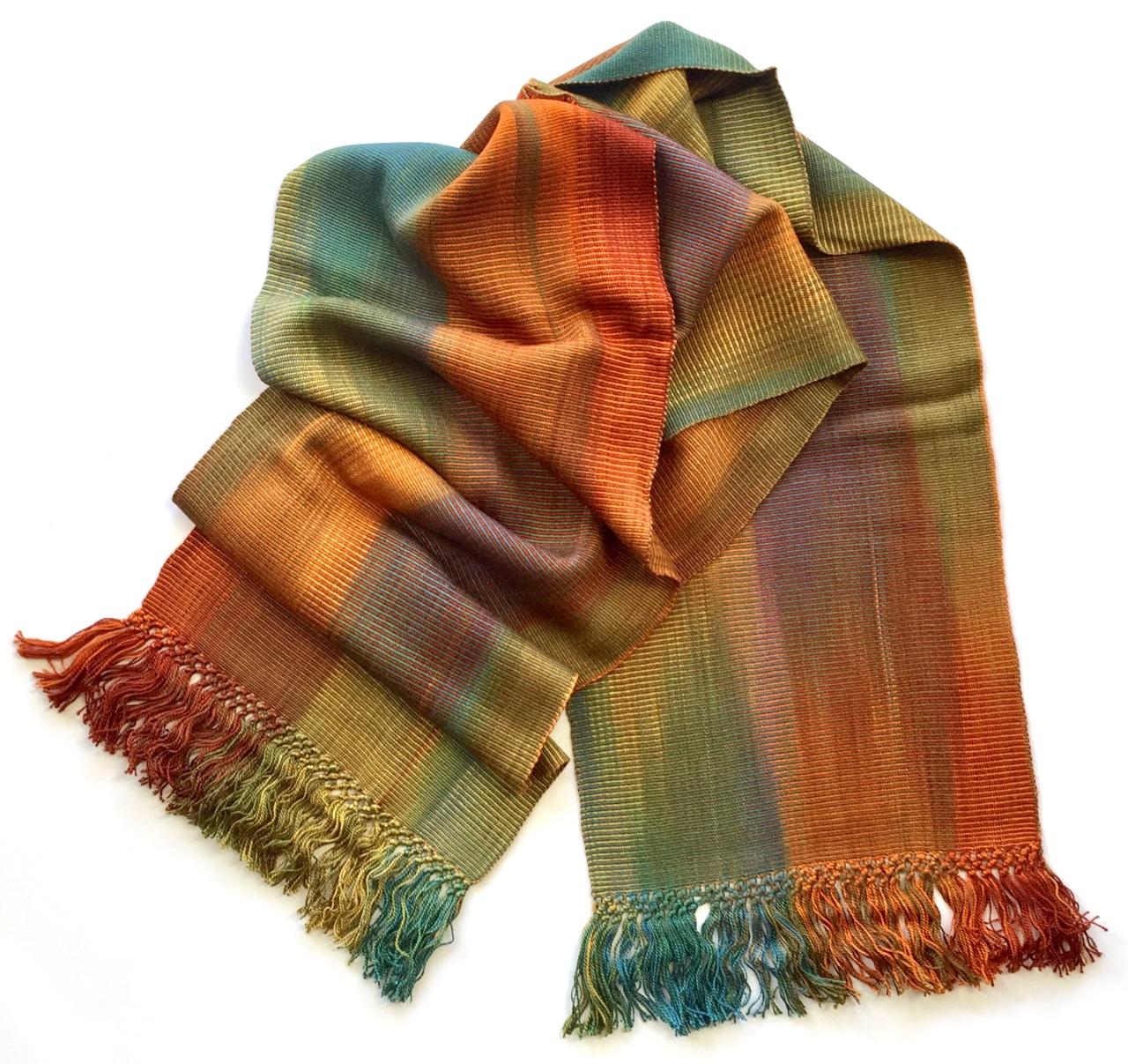 Autumn Rainbow - Lightweight Bamboo Handwoven Scarf 8 x 68