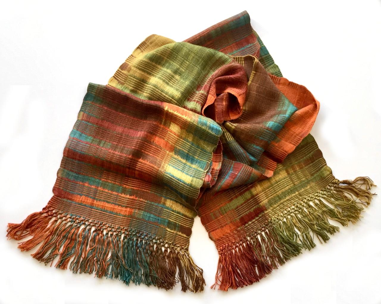 Autumn Rainbow - Lightweight Bamboo Open-Weave Handwoven Scarf 8 x 68