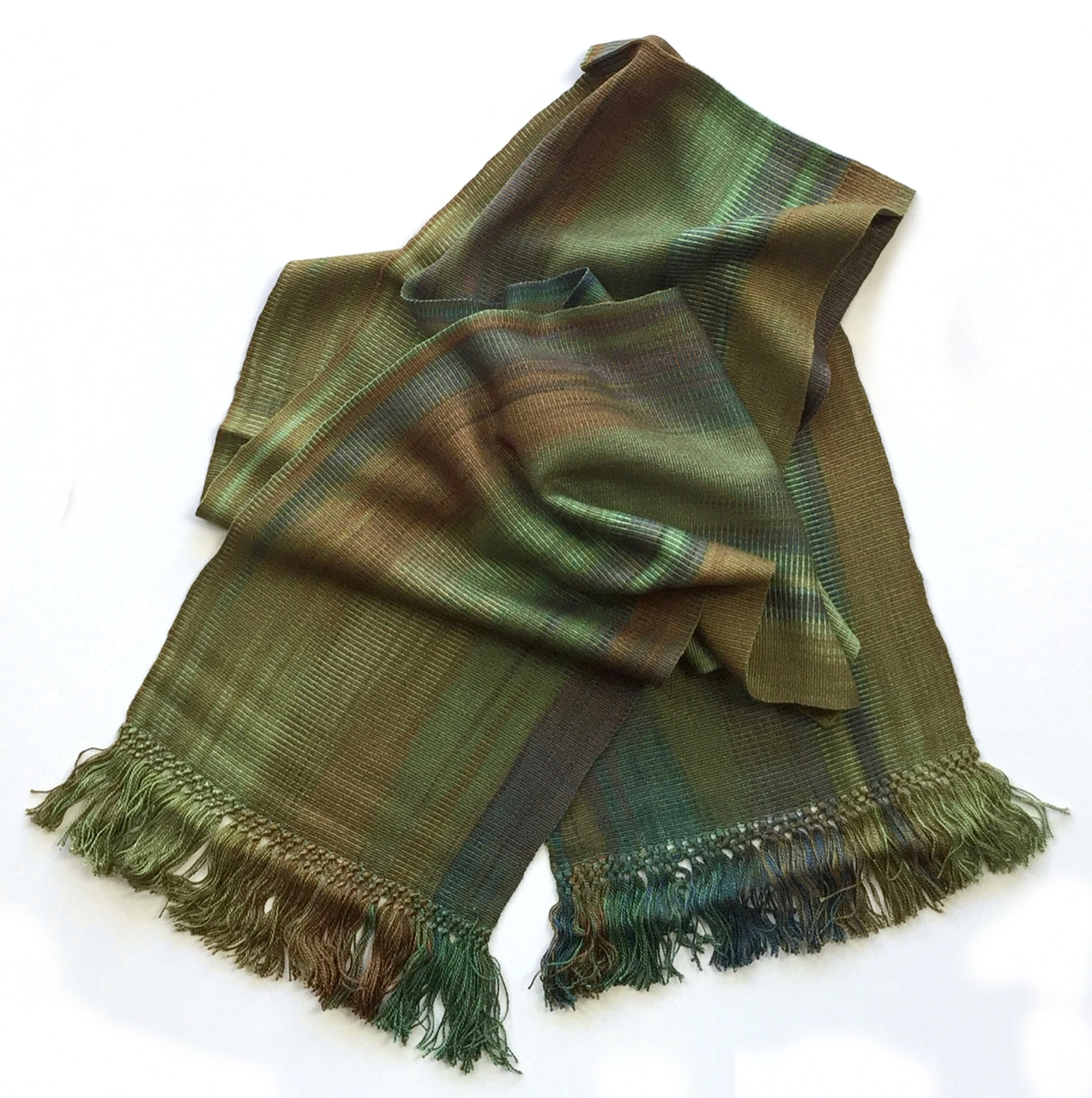 Greens, Brown, Copper - Lightweight Bamboo Handwoven Scarf 8 x 68