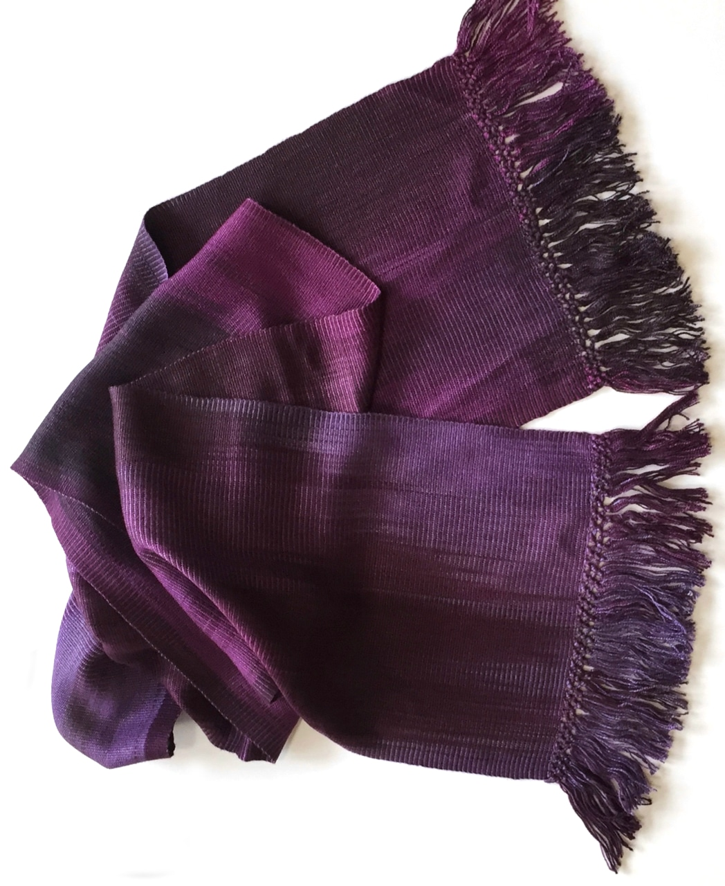 Purples, Lilac, Violet - Lightweight Bamboo Handwoven Scarf 8 x 68