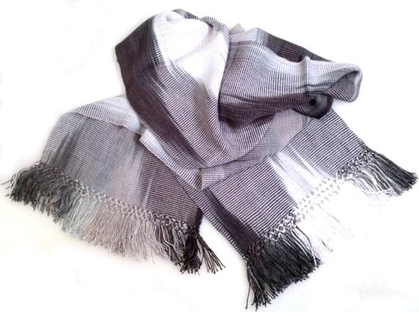 Black, White, Grays - Lightweight Bamboo Handwoven Scarf 8 x 68