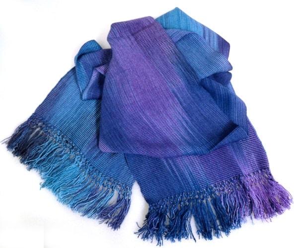 Blues, Purples - Lightweight Bamboo Handwoven Scarf 8 x 68
