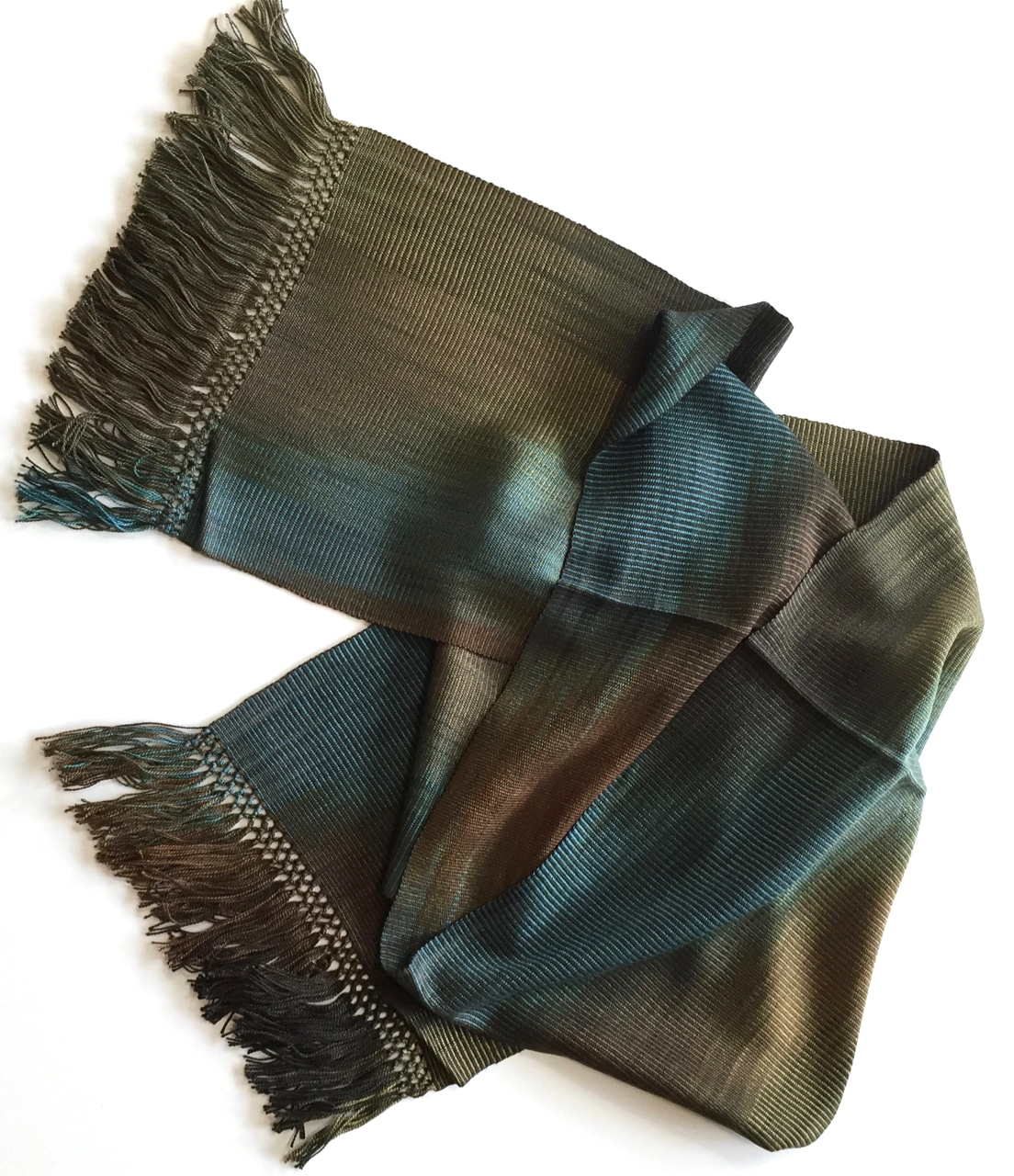 Browns, Turquoise - Lightweight Bamboo Handwoven Scarf 8 x 68