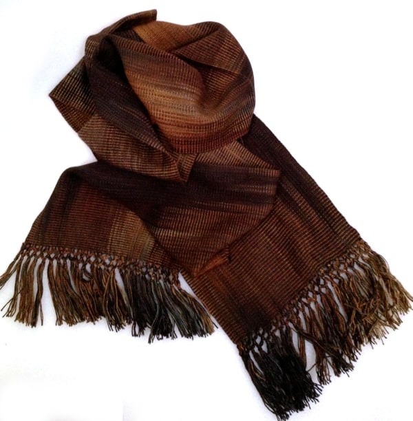Browns and Black - Bamboo Chenille Handwoven Scarf 8 x 68