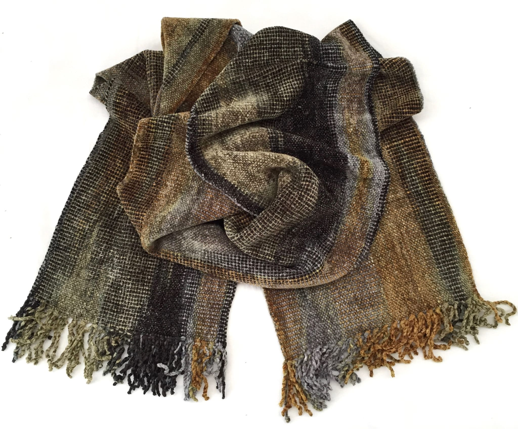 Gray, Gold, Black - Bamboo Chenille Handwoven Scarf 8 x 68