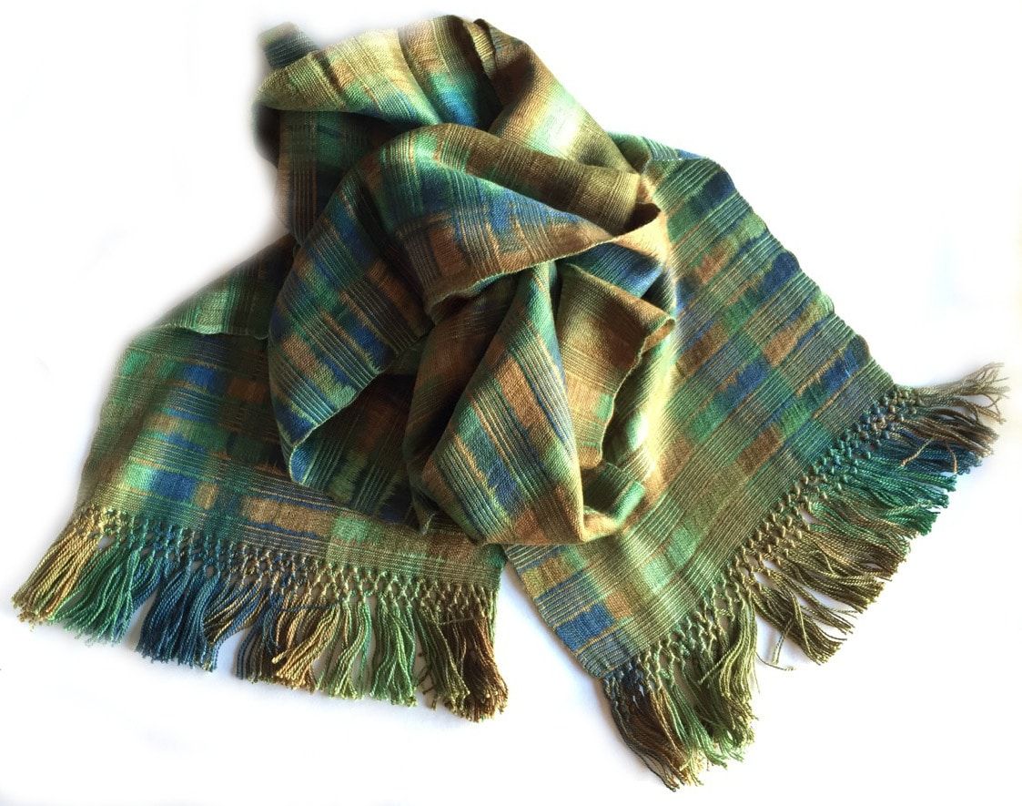Greens, Brown, Copper - Lightweight Bamboo Open-Weave Handwoven Scarf 8 x 68