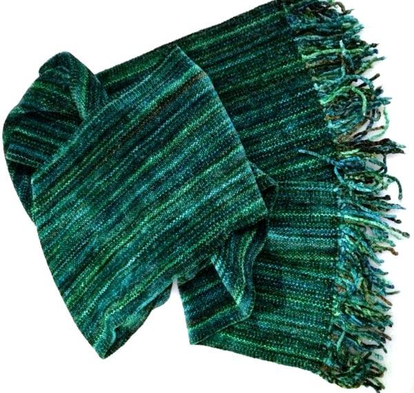 Green Micro Stripes - Bamboo Chenille Handwoven Scarf 8 x 68