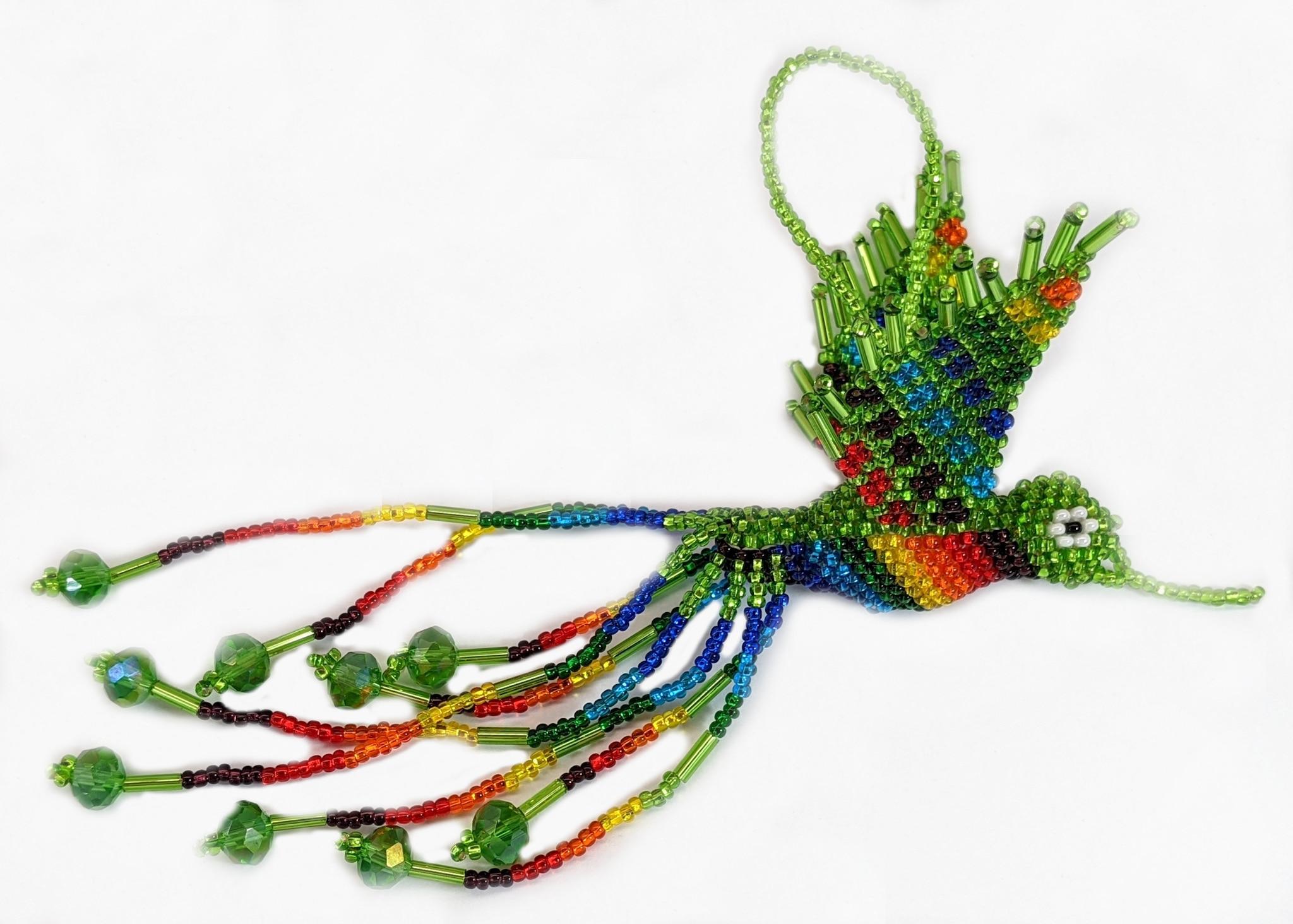 Hummingbird Beaded Ornament - Rainbow with Lime Green