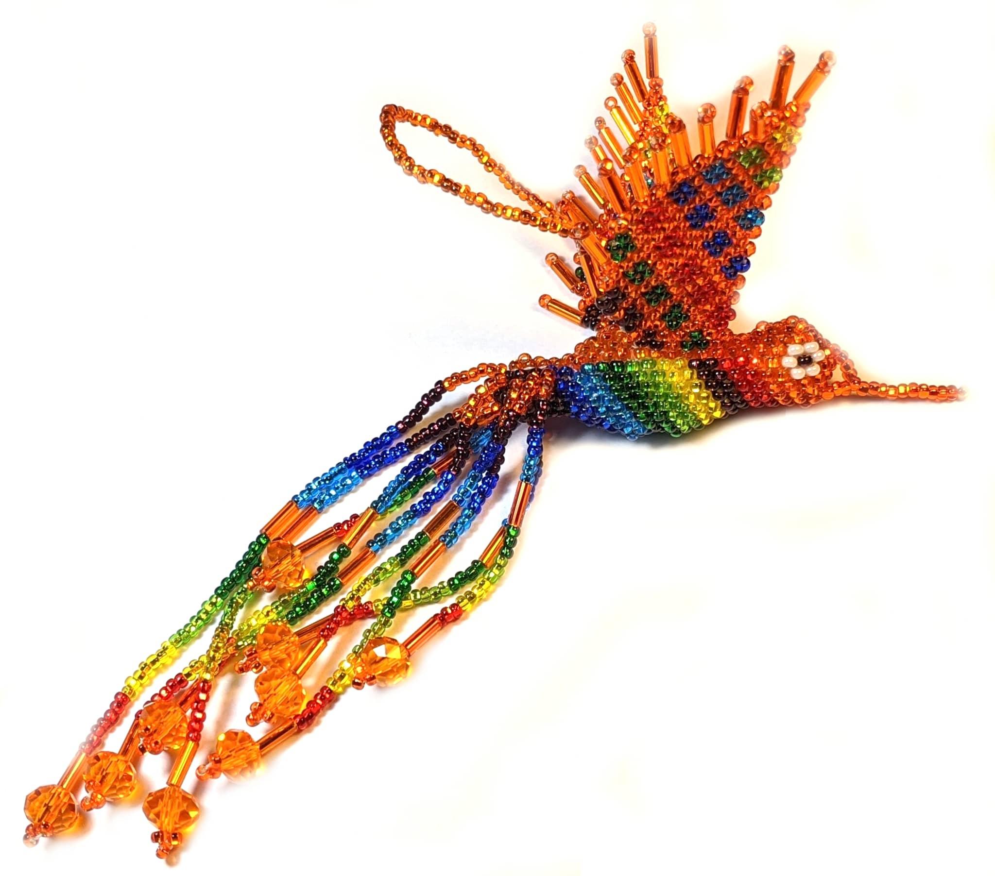 Hummingbird Beaded Ornament - Rainbow with Orange