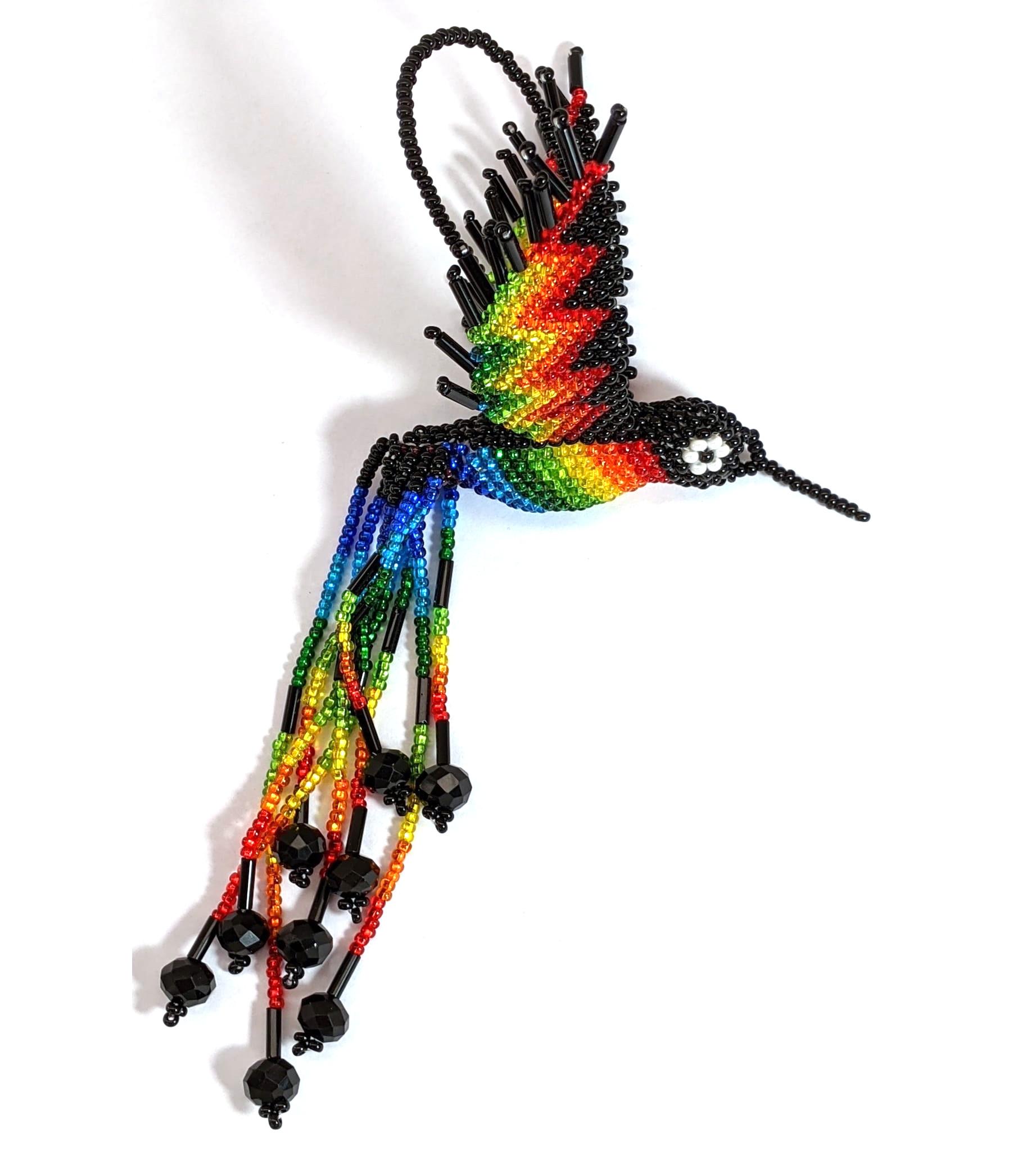 Hummingbird Beaded Ornament - Rainbow with Black