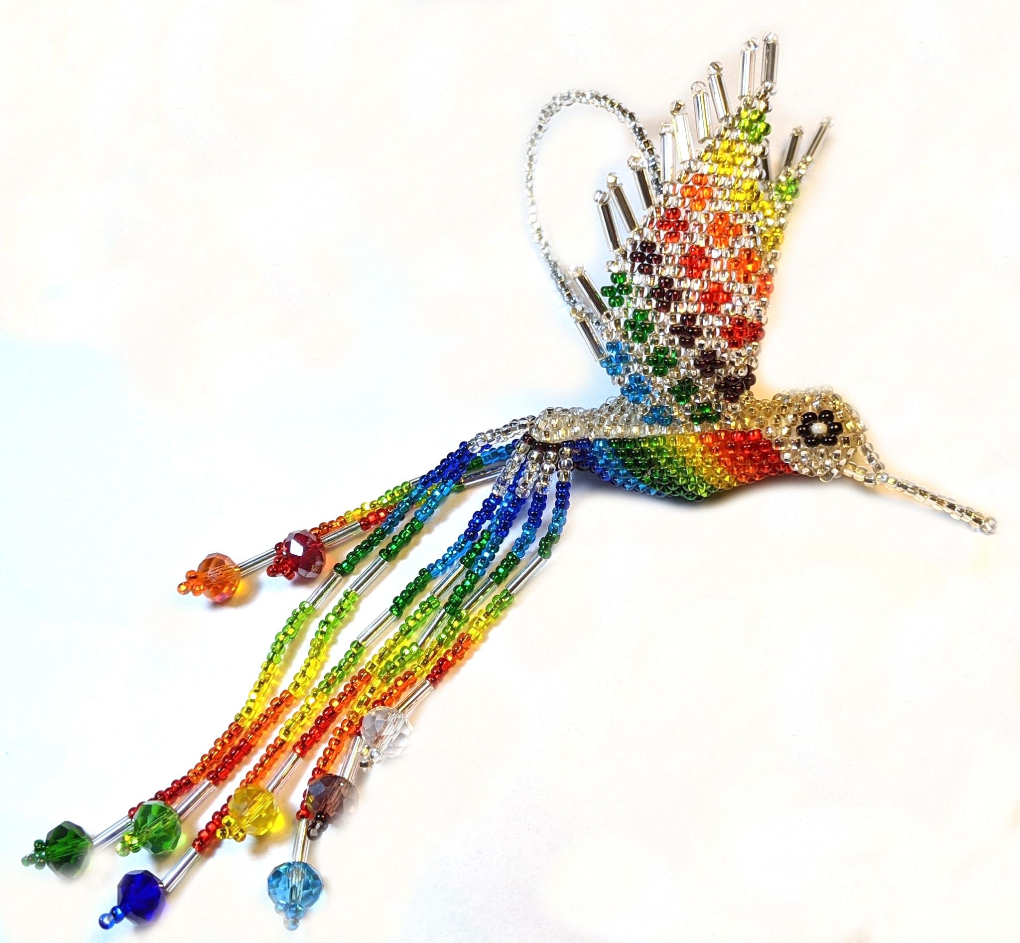 Hummingbird Beaded Ornament - Rainbow with Silver White