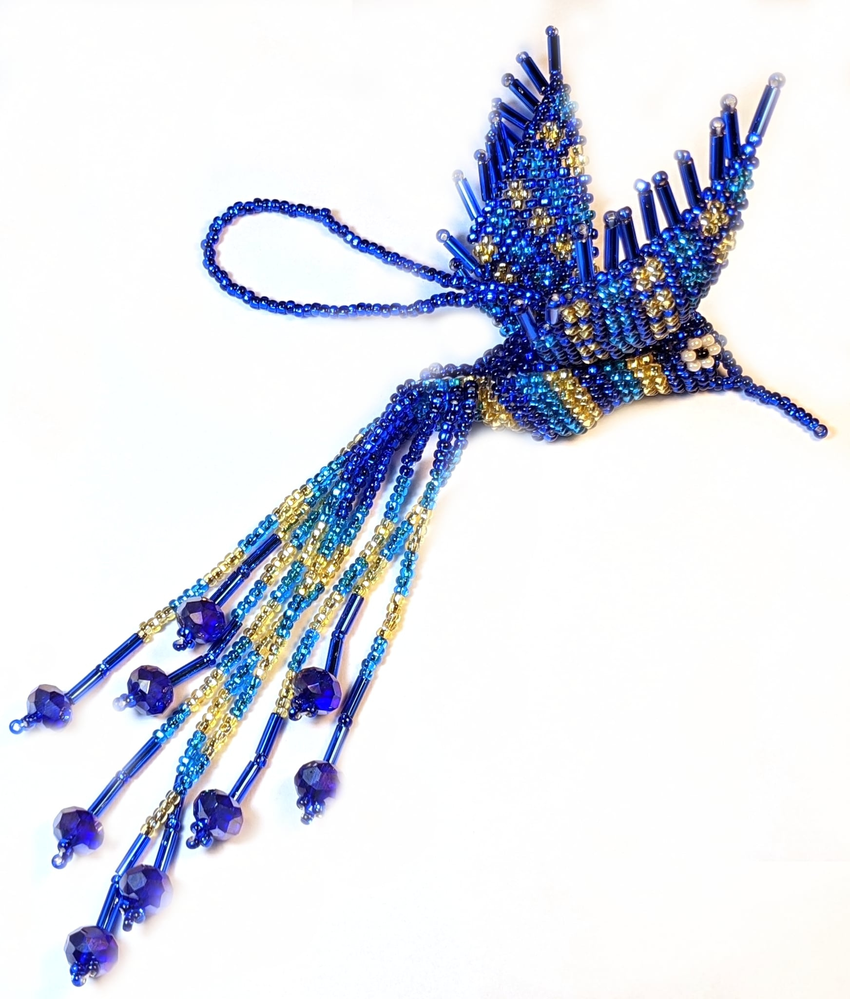 Hummingbird Beaded Ornament - Sapphire Blue, Celestial Blue, and Light Gold