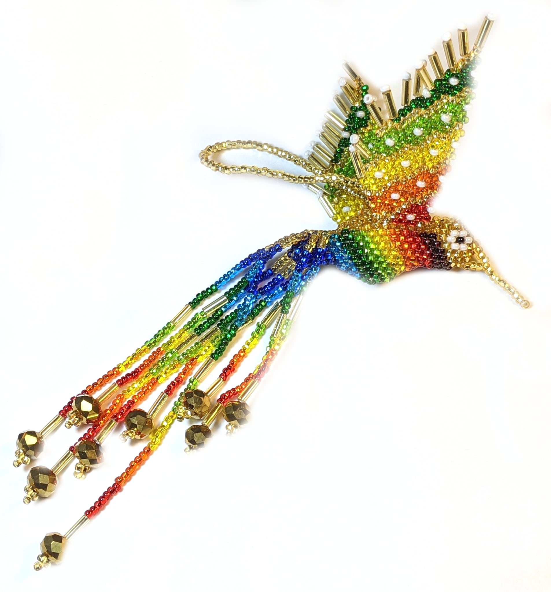 Hummingbird Beaded Ornament - Rainbow with Light Gold and Pearl White Accents