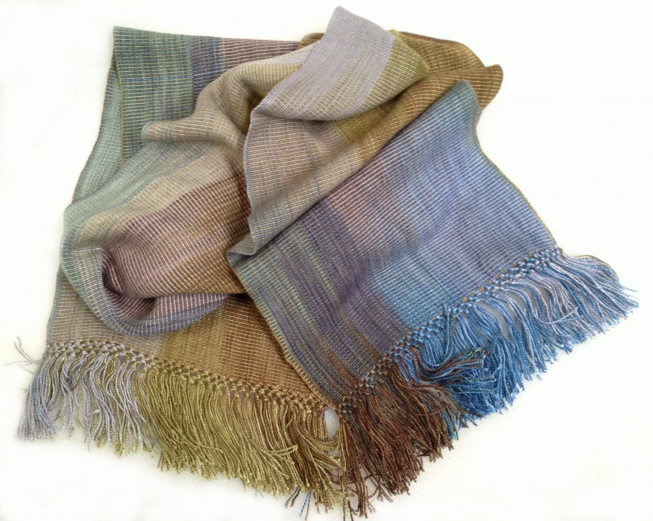 Blue, Olive, Gray, Brown - Lightweight Bamboo Handwoven Scarf 8 x 68