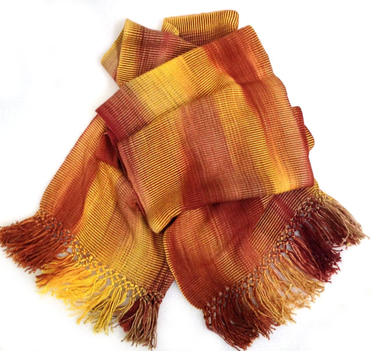 Golden Autumn - Lightweight Bamboo Handwoven Scarf 8 x 68