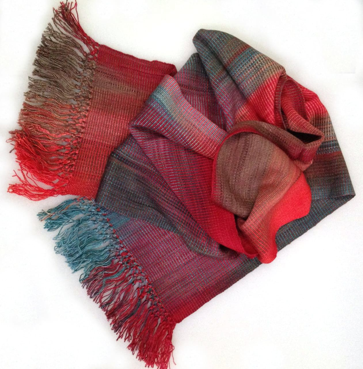 Turquoise, Coral - Lightweight Bamboo Handwoven Scarf 8 x 68