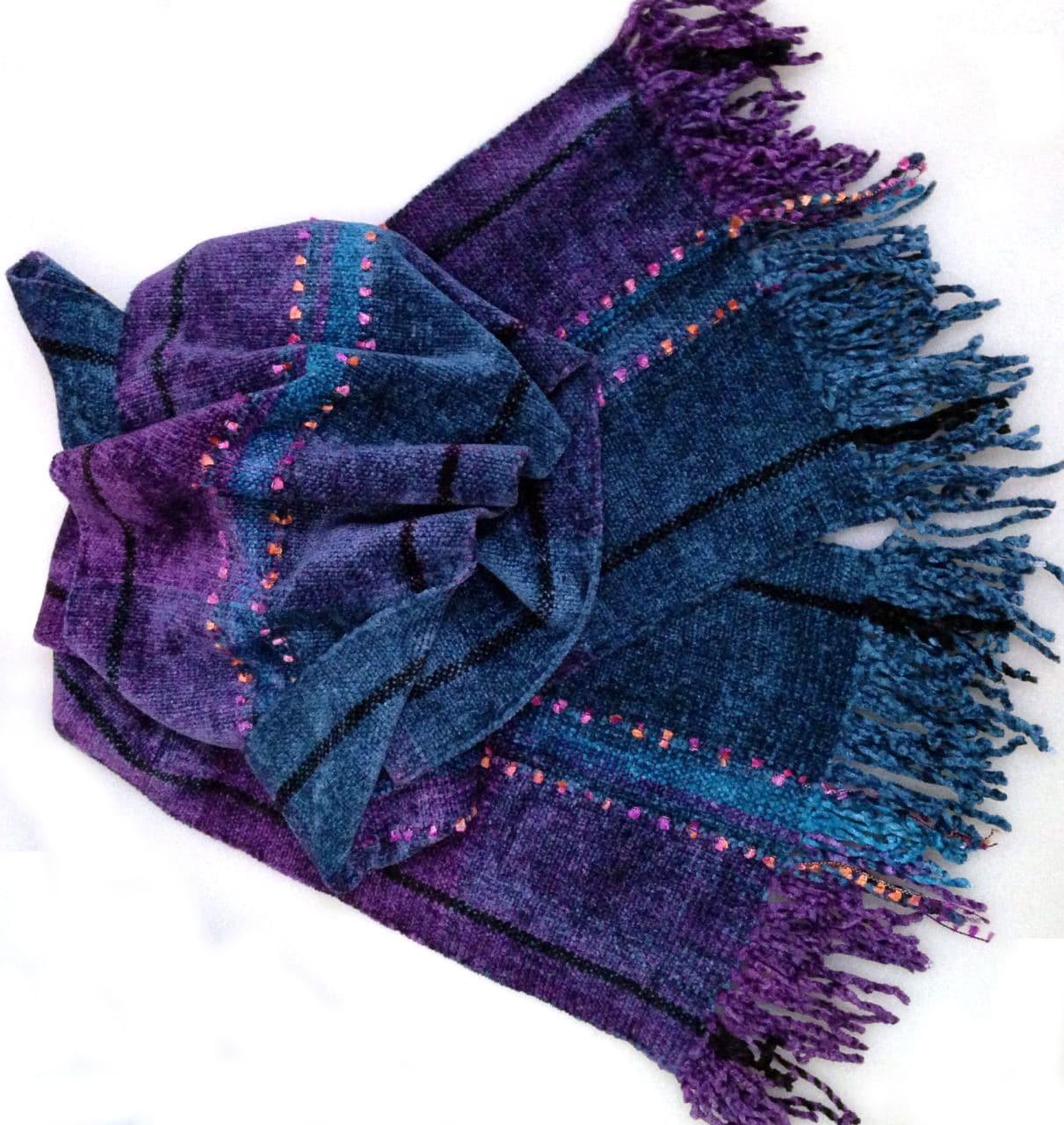 Purple, Blue, Black with Ornamental Yarn - Bamboo Chenille Handwoven Scarf 8 x 68