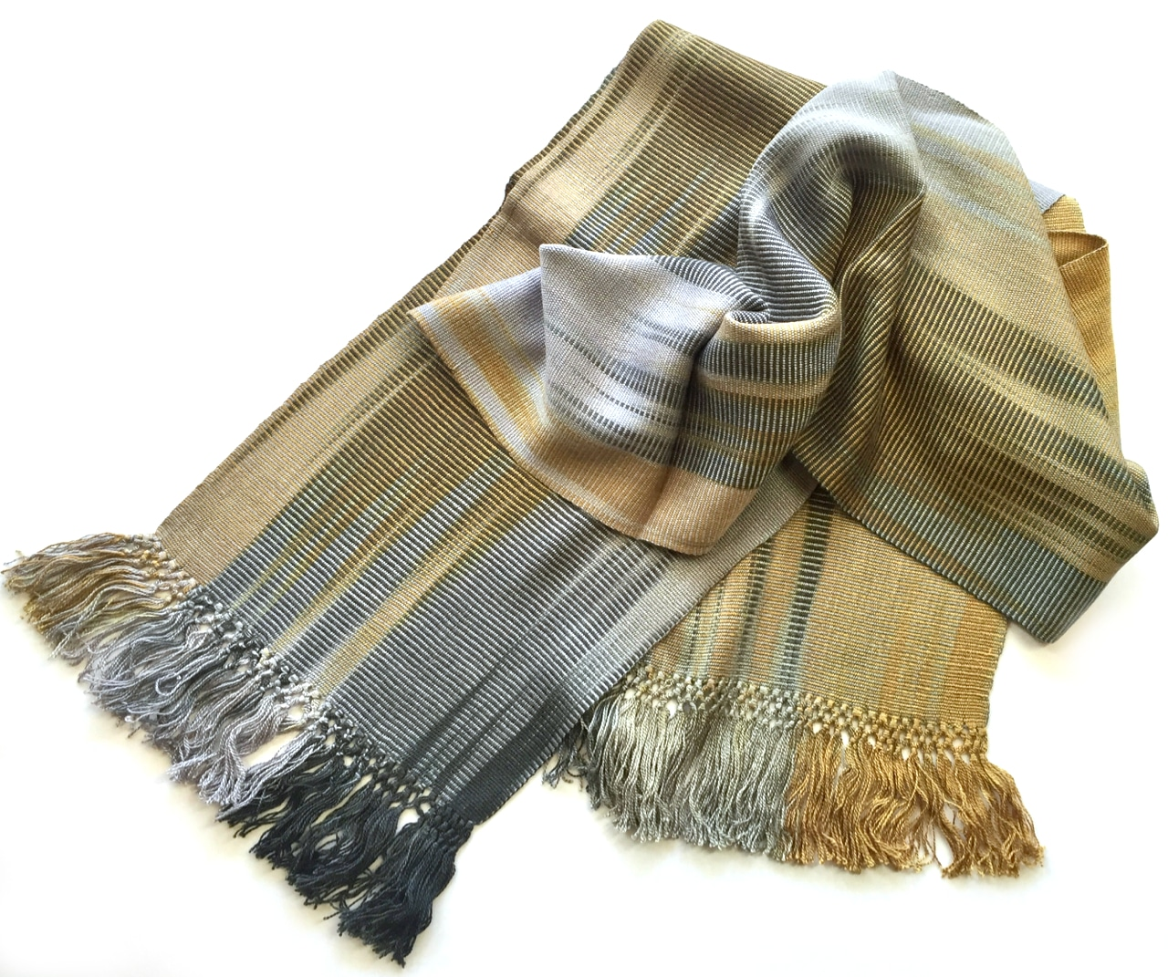 Gray, Gold, Black - Lightweight Bamboo Handwoven Scarf 8 x 68