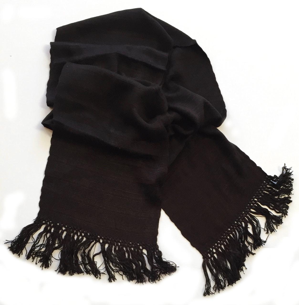 Black - Lightweight Bamboo Open-Weave Handwoven Scarf 8 x 68