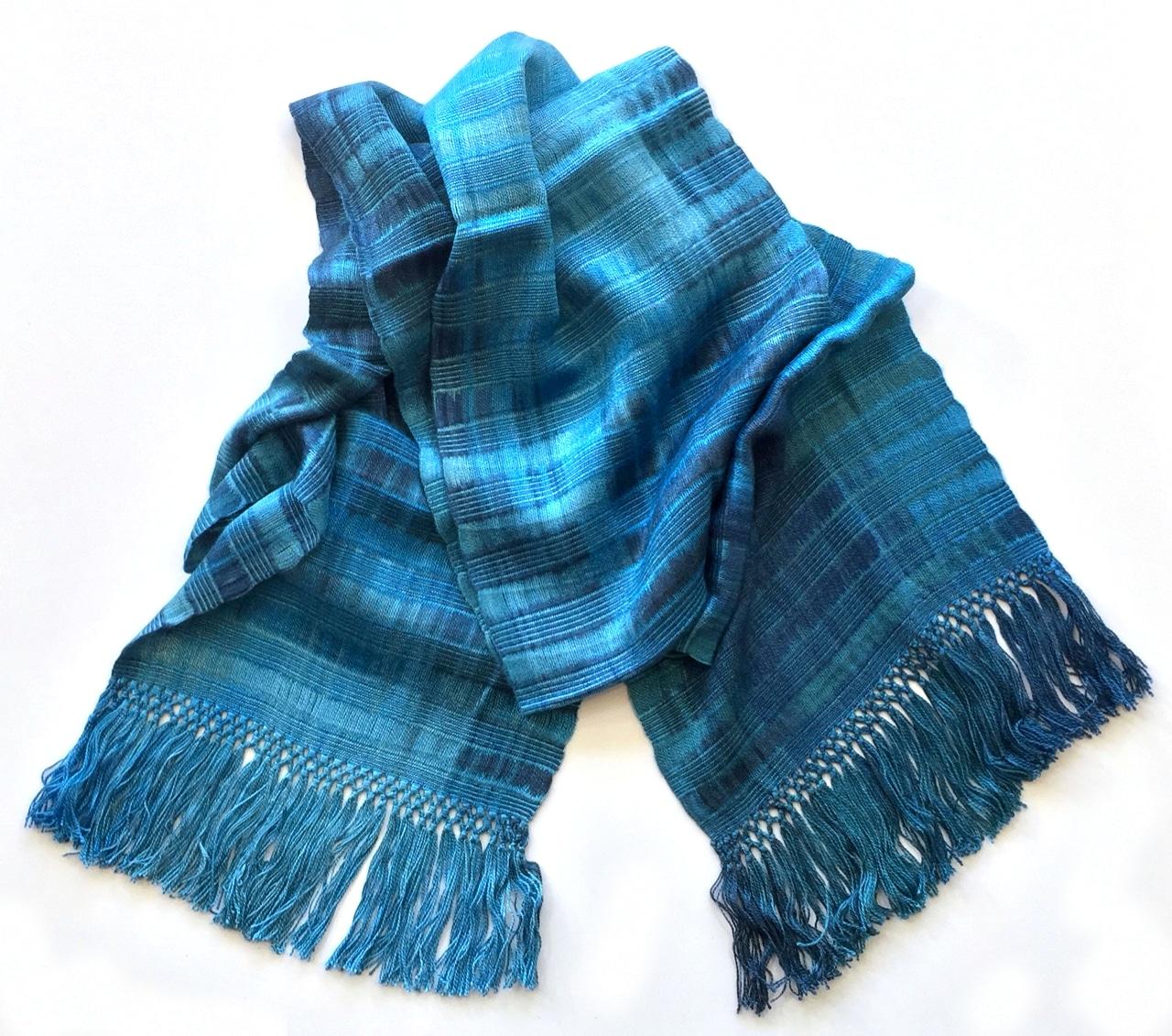 Blues - Lightweight Bamboo Open-Weave Handwoven Scarf 8 x 68
