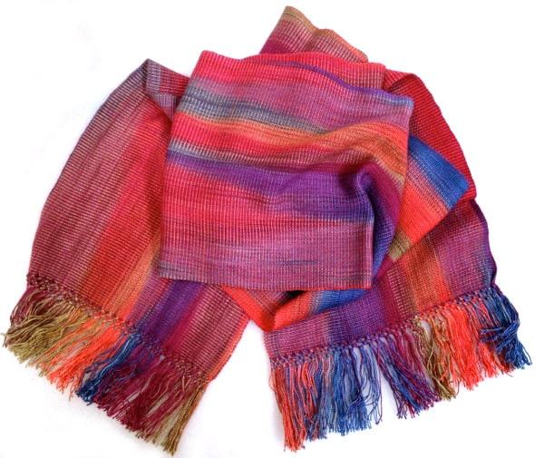 Orange, Blue, Burgundy, Olive - Lightweight Bamboo Open-Weave Handwoven Scarf 8 x 68