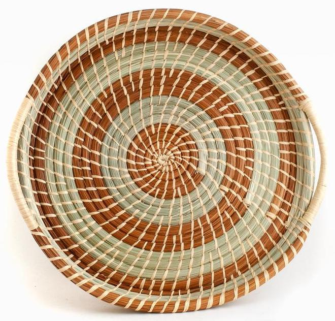 Circular Wild Grass and Pine Needle Tray Basket