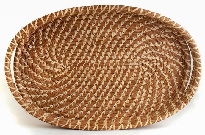 Oval Pine Needle Tray Basket