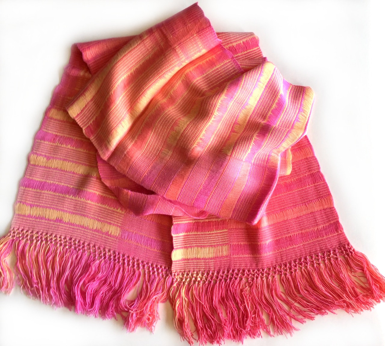 Pink, Yellow - Lightweight Bamboo Open-Weave Handwoven Scarf 8 x 68
