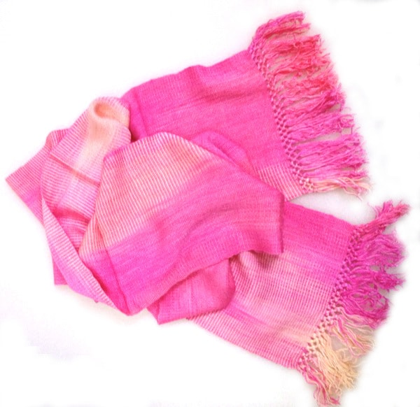 Pink, Yellow - Lightweight Bamboo Handwoven Scarf 8 x 68
