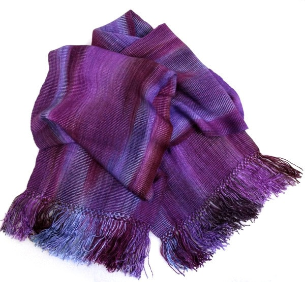 Purples, Lilac, Violet - Bamboo Chenille Handwoven Scarf 8 x 68